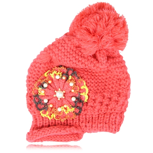 Slouch Knitted Flower Beanie