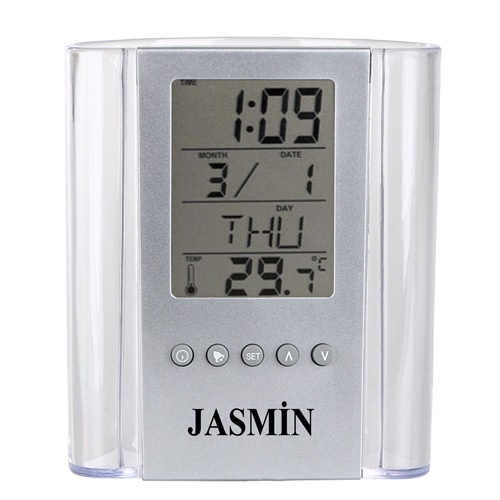 Translucent Pen Holder Desk Clock Image 1