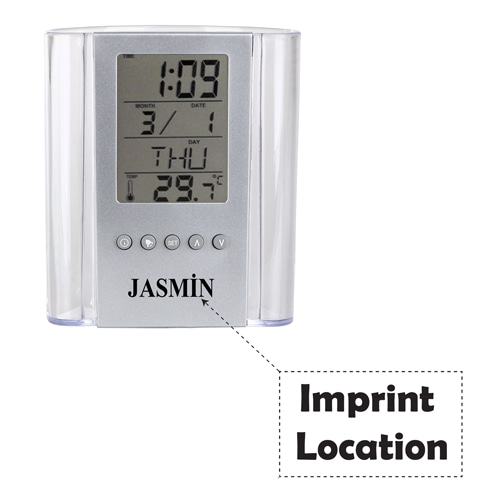 Translucent Pen Holder Desk Clock Imprint Image