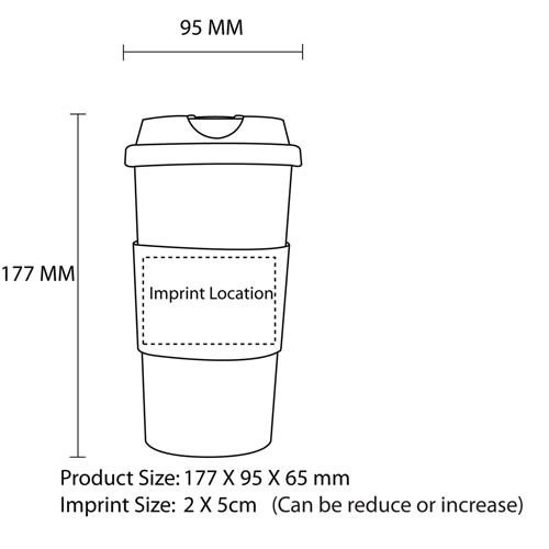 480ML Classic Travel Mug With Grip Imprint Image