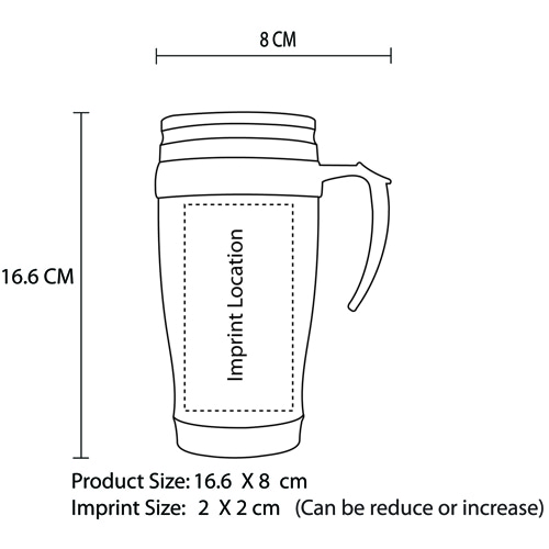 450ML Stainless Steel Travel Mug With Handle Imprint Image