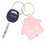 House Shape PU Leather LED Keychain