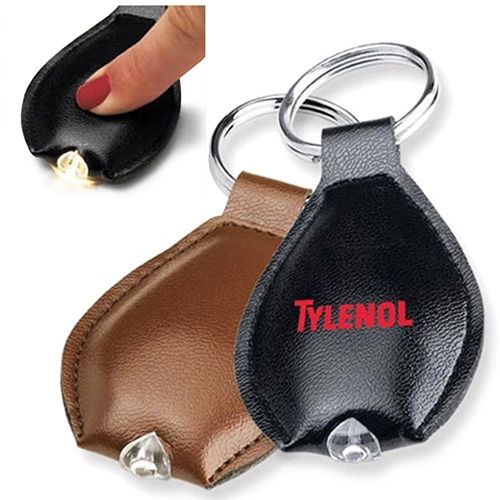 PU Leather Keychain With LED Light