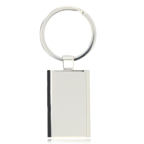 Rectangular Metal Chrome Keychain Image 1