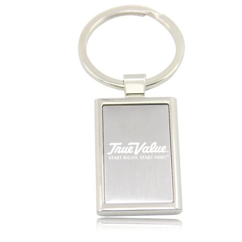 Rectangular Metal Chrome Keychain Image 2
