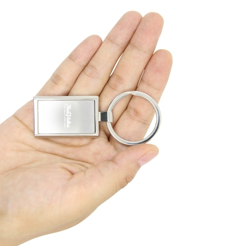 Rectangular Metal Chrome Keychain Image 3