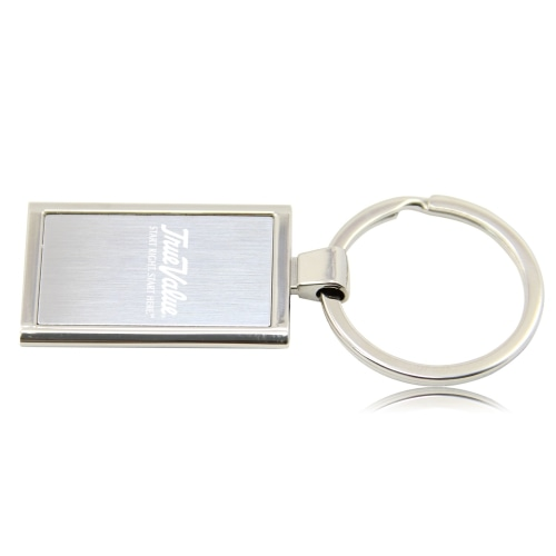 Rectangular Metal Chrome Keychain Image 4