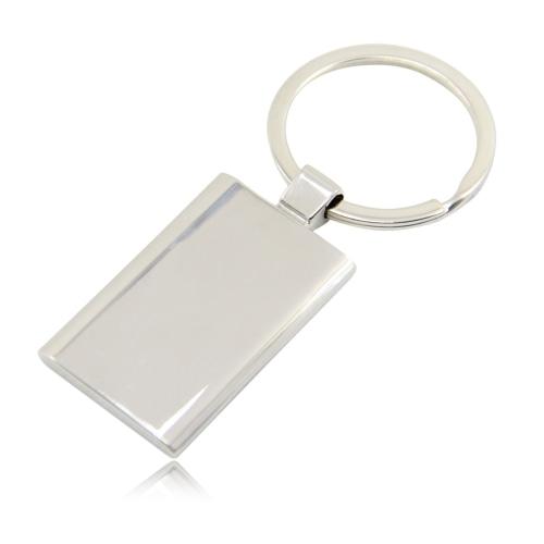 Rectangular Metal Chrome Keychain Image 7