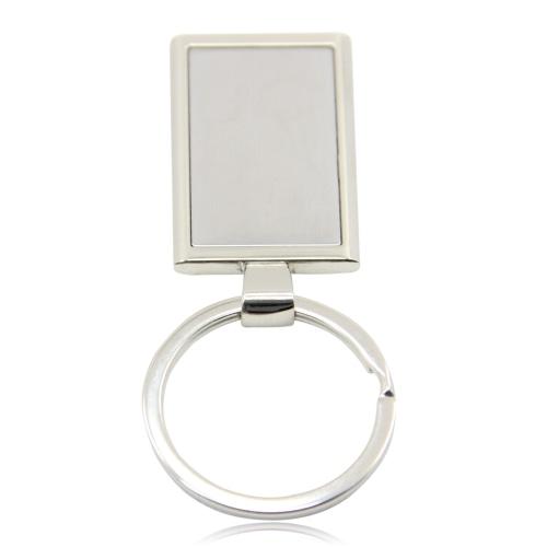 Rectangular Metal Chrome Keychain Image 8