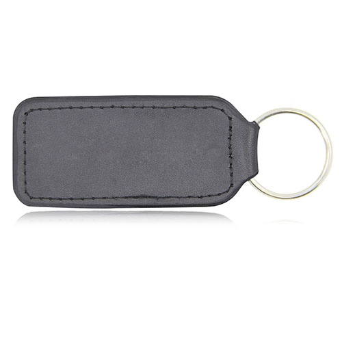 Leather Keychain With Metal Plate