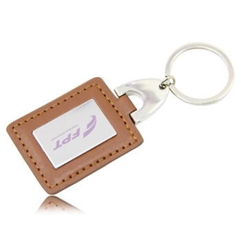 Square Leather Keychain With Metal Plate