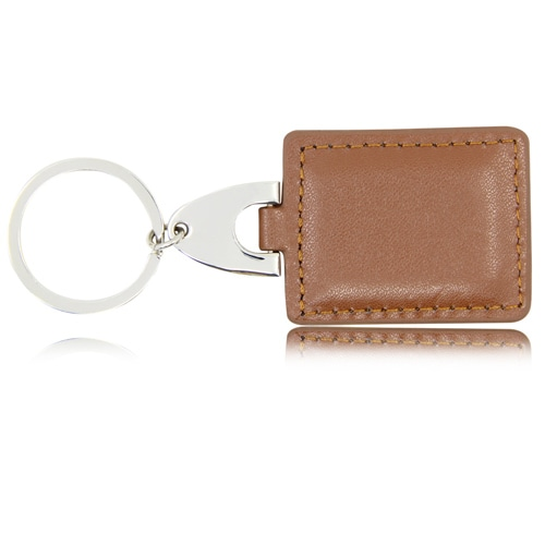 Square Leather Keychain With Metal Plate Image 4