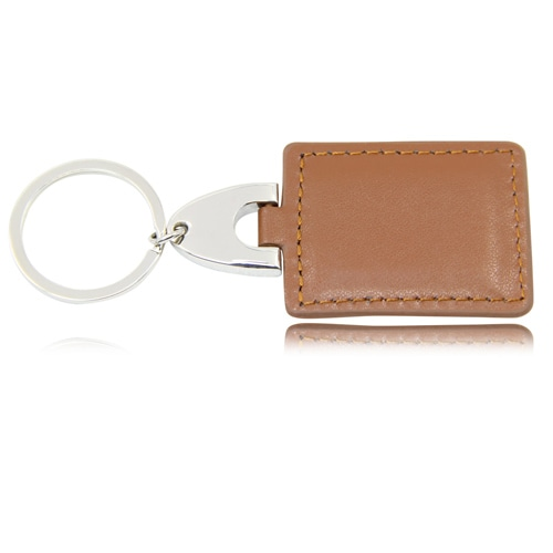 Square Leather Keychain With Metal Plate Image 7