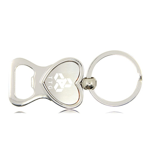 Heart Shaped Bottle Opener Keychain Image 1