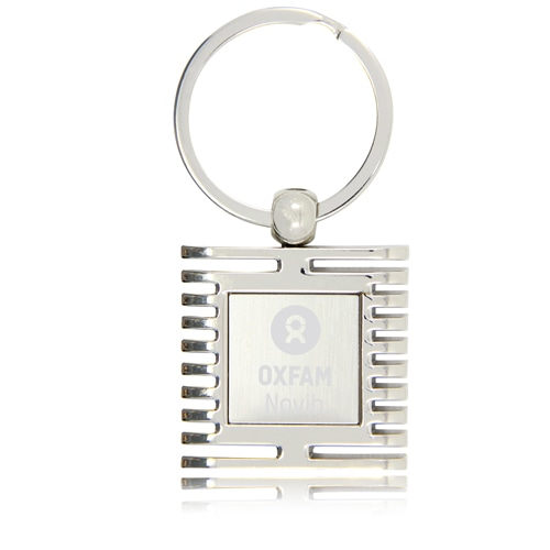 Square Window Shape Metal Keychain Image 1