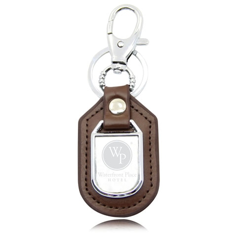 President Leather Key Fob With Metal