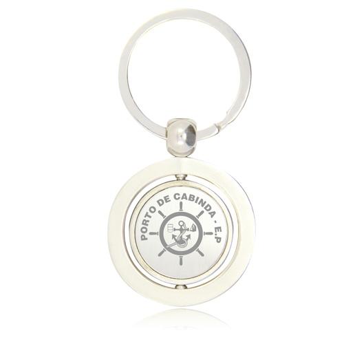 Round Shape Spinning Metal Keychain Image 1