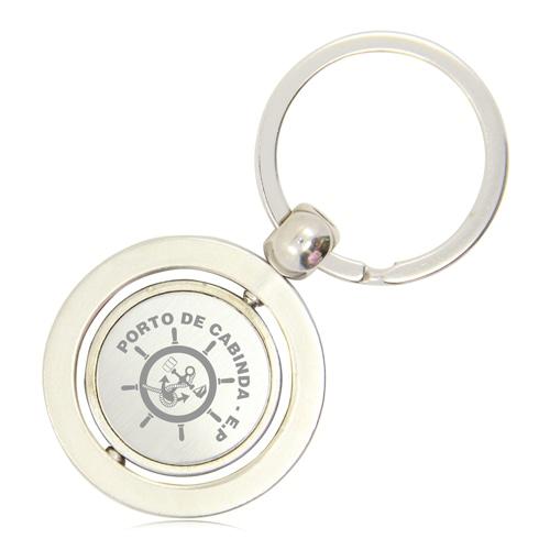 Round Shape Spinning Metal Keychain