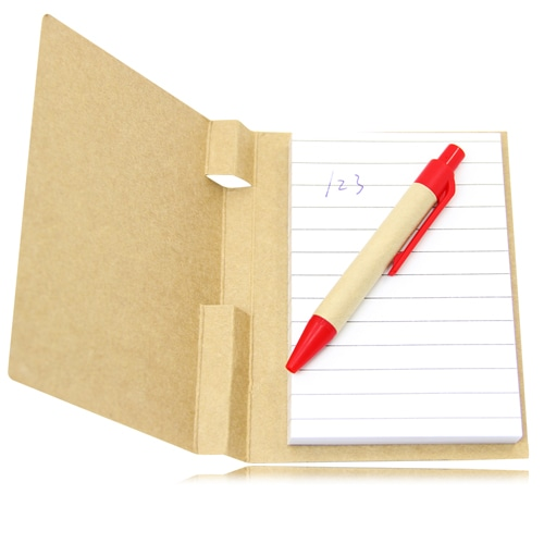 Eco Kraft Cover Notepad With Pen Image 2