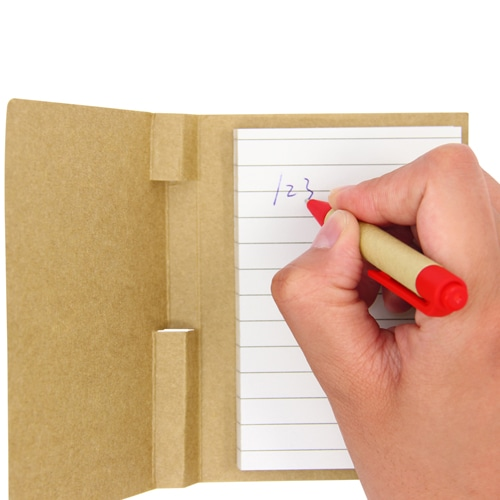 Eco Kraft Cover Notepad With Pen Image 3