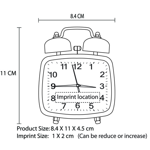 Square Double Twin Bell Alarm Clock Imprint Image