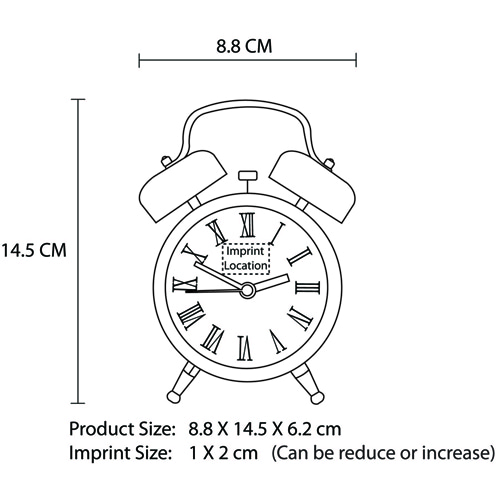 Metal Twin Bell Alarm Clock Imprint Image