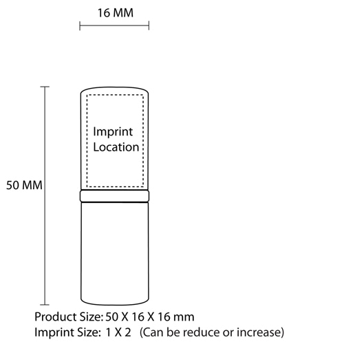 1GB Lipstick Style USB Flash Drive Imprint Image