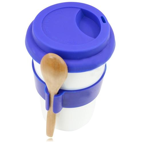Ceramic Travel Mug With Spoon