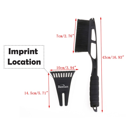 Deluxe Long Handled Car Ice Scraper Imprint Image