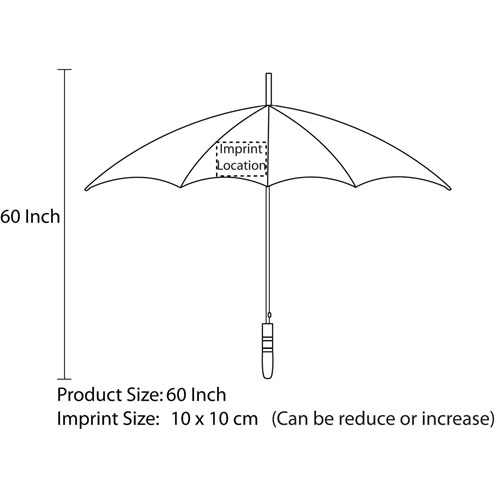 60 Inch Promotional Fiberglass Ribs Golf Umbrella Imprint Image