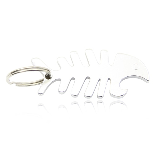Fish Bone Bottle Opener Keychain Image 1