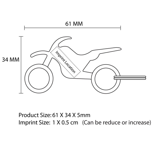 Stunt Bike Keychain With Opener Imprint Image