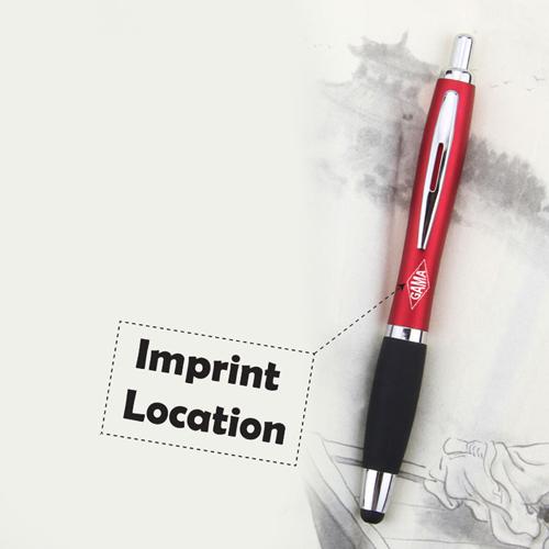 Rubber Grip Retractable Stylus Pen Imprint Image