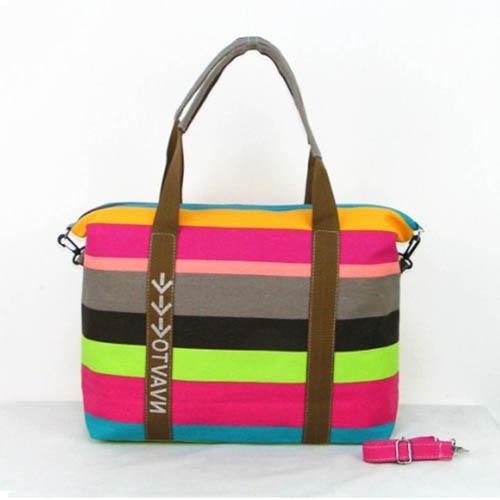 Ladies Strip Tote Shopping Handbag Image 1