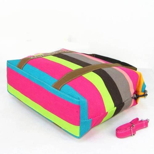 Ladies Strip Tote Shopping Handbag Image 2