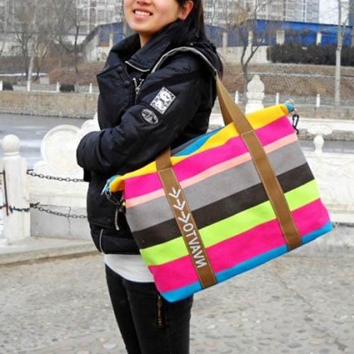Ladies Strip Tote Shopping Handbag Image 3