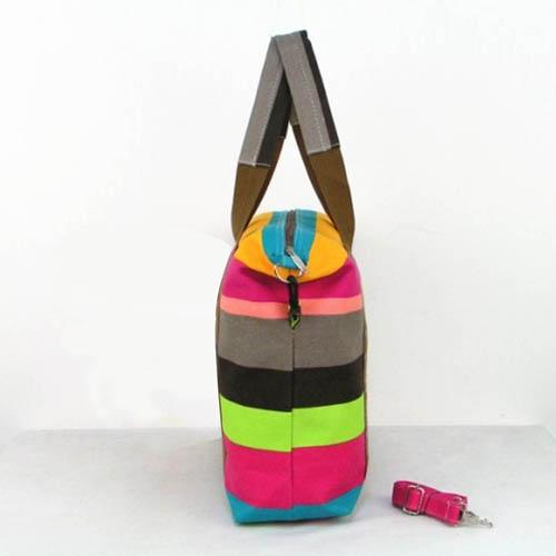 Ladies Strip Tote Shopping Handbag Image 4