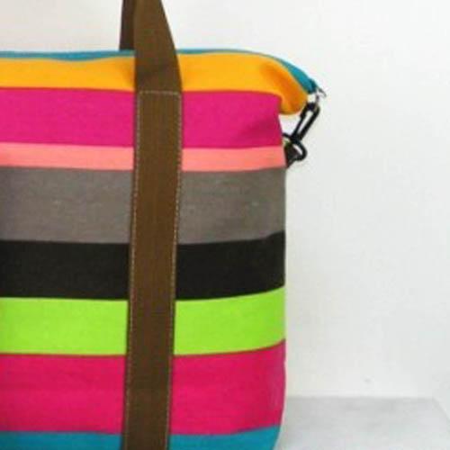 Ladies Strip Tote Shopping Handbag Image 5