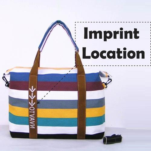 Ladies Strip Tote Shopping Handbag Imprint Image