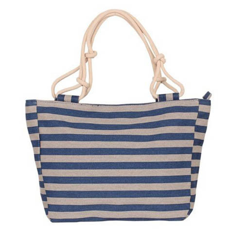 Flower Print Stripes Large Beach Bags Image 1