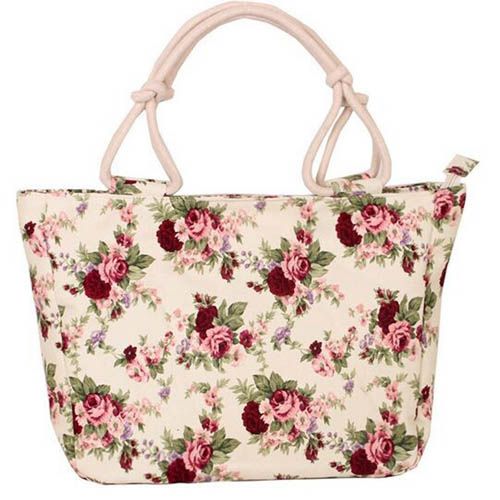 Flower Print Stripes Large Beach Bags Image 2