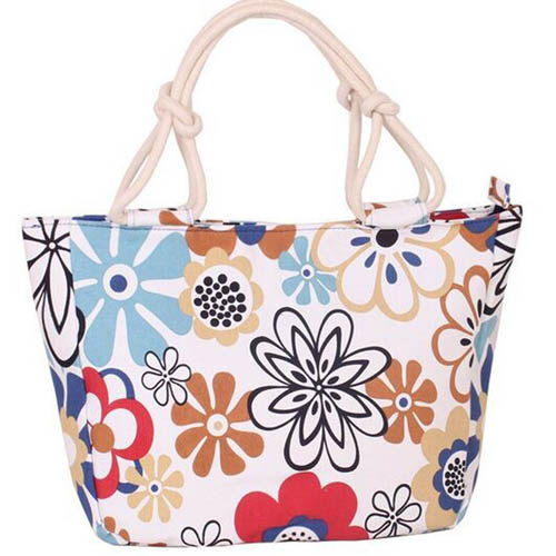Flower Print Stripes Large Beach Bags Image 3