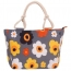 Flower Print Stripes Large Beach Bags