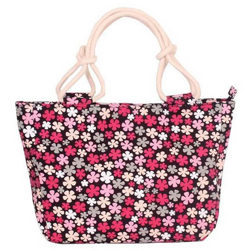 Flower Print Stripes Large Beach Bags Image 6