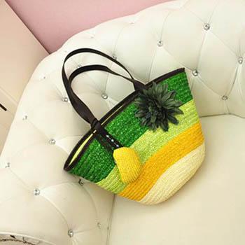 Flower Girl Straw Beach Handbag