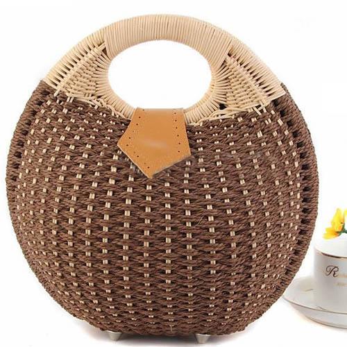 Women Shell Woven Beach Bag
