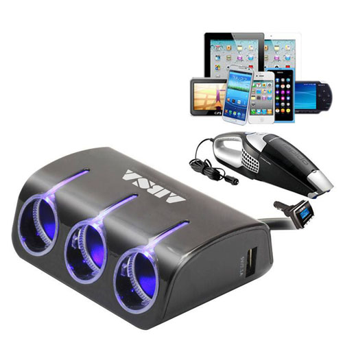 3 Socket Dual USB Car Charger Image 1