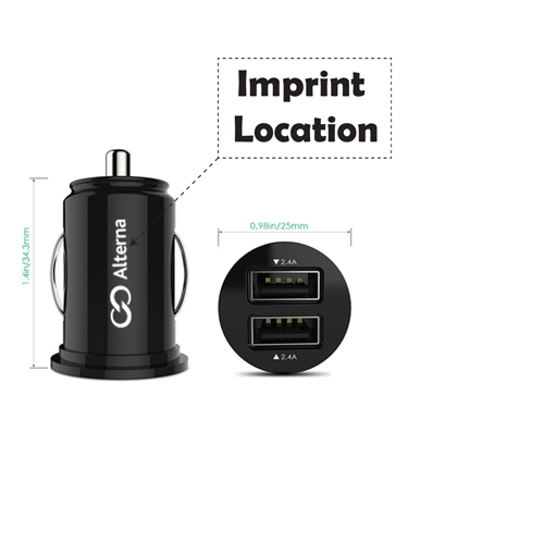 Portable 2 Port USB Car Charger Adapter Imprint Image