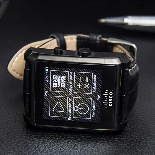 Crystal Curved HRM Bluetooth Leather Wrist Watch Image 2