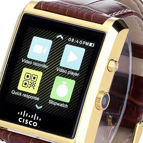 Crystal Curved HRM Bluetooth Leather Wrist Watch Image 4